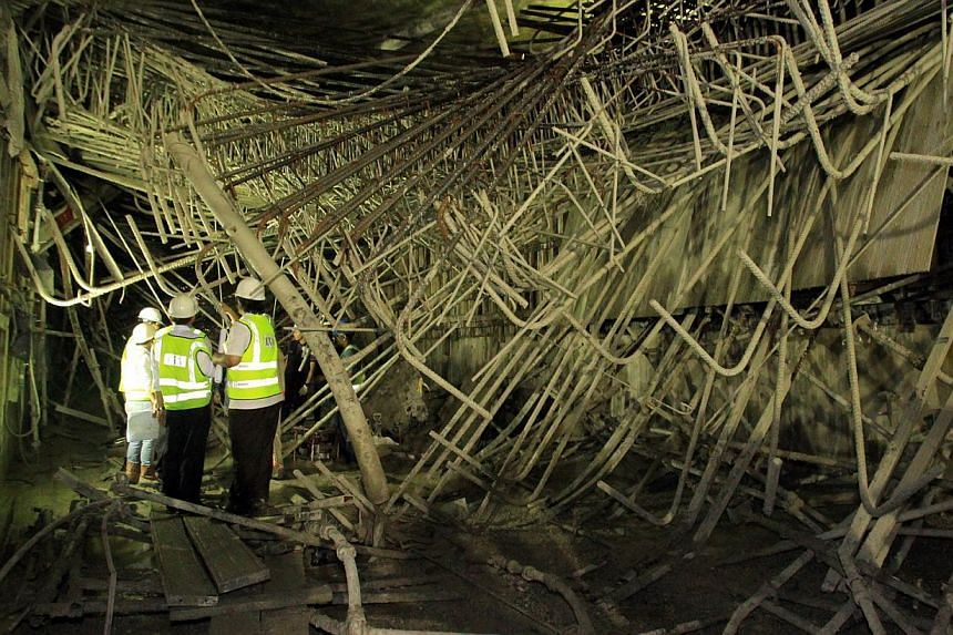 The underground scaffolding at the Downtown Line Bugis MRT Station worksite near the junction of Rochor Road and Victoria Street had collapsed on July 18 2012. A sub-contractor for the Bugis Downtown line was on Wednesday fined $100,000 for the fatal