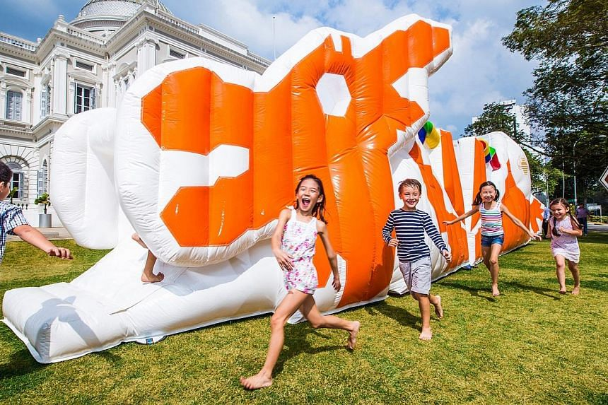 An inflatable version of the beloved dragon playground is one of the attractions at the latest Children's Season programme at the National Museum. -- PHOTO:NATIONAL MUSEUM OF SINGAPORE