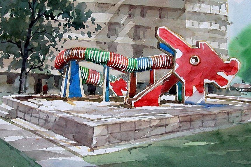 A watercolour drawing of a dragon playground by Mr Khor Ean Ghee, a former HDB interior designer who designed the playground. -- PHOTO: KHOR EAN GHEE