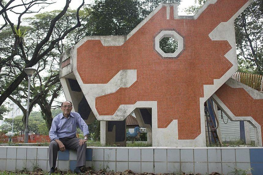 Mr Khor Ean Ghee, the designer of the distinct dragon playground in Toa Payoh Lorong 6.-- ST PHOTO:CHERYL FAITH WEE