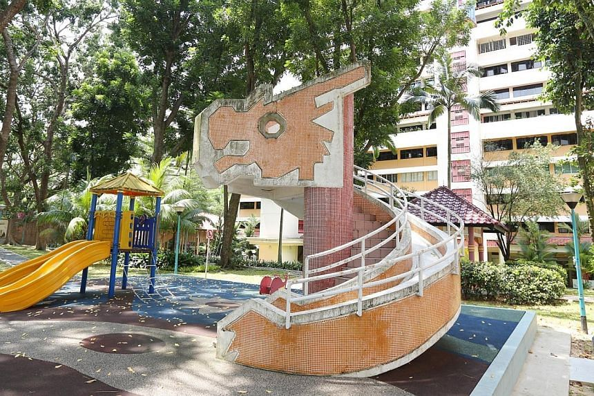 The dragon playground in front of Block 240 Toa Payoh Lorong 1. It was designed by Mr Khor Ean Ghee, former Housing Board playground designer of Housing Board, and is estimated to have completed in 1985. -- PHOTO: MY PAPER FILE