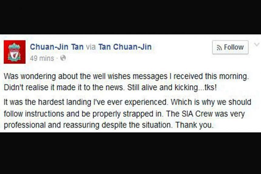 """Manpower Minister Tan Chuan Jin, who was on the flight, said on his Facebook page that it was """"the hardest landing I've ever experienced"""". -- SCREENGRAB: CHUAN-JIN TAN / FACEBOOK"""