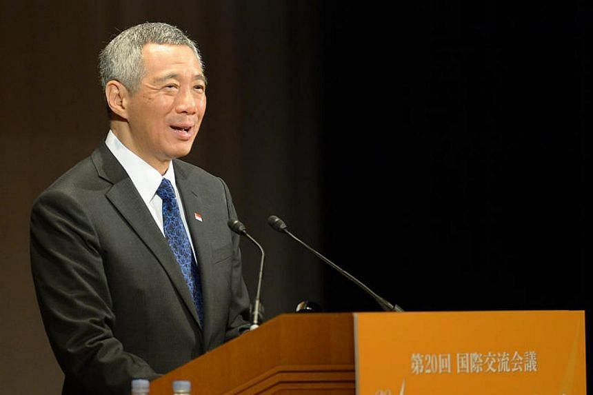 Singapore Prime Minister Lee Hsien Loongdelivers his keynote address during the 20th Nikkei Conferencein Tokyo, Japan on Thursday, May 22, 2014.Japan must remain a part of the Trans-Pacific Partnership (TPP) free trade agreement if