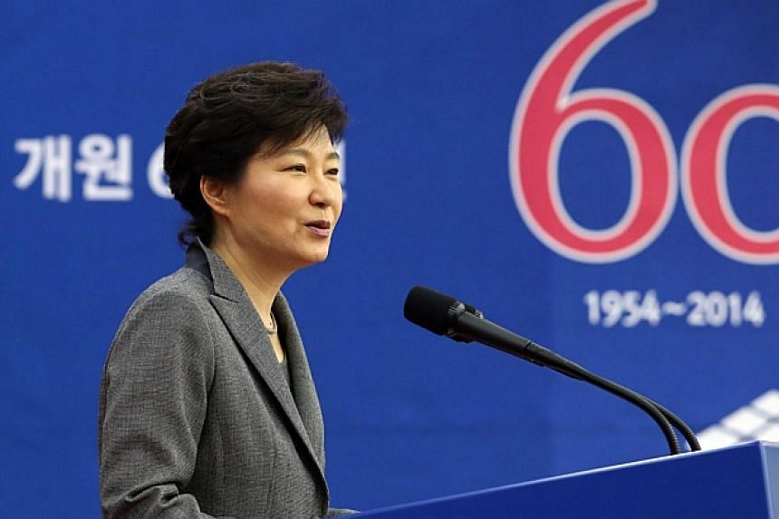 South Korean President Park Geun Hye speaks to a ceremony in Seoul, South Korea on May 14, 2014, to mark the 60th anniversary of the National Academy of Sciences. Ms Park named on Thursday, May 22, 2014, a former supreme court justice as prime m
