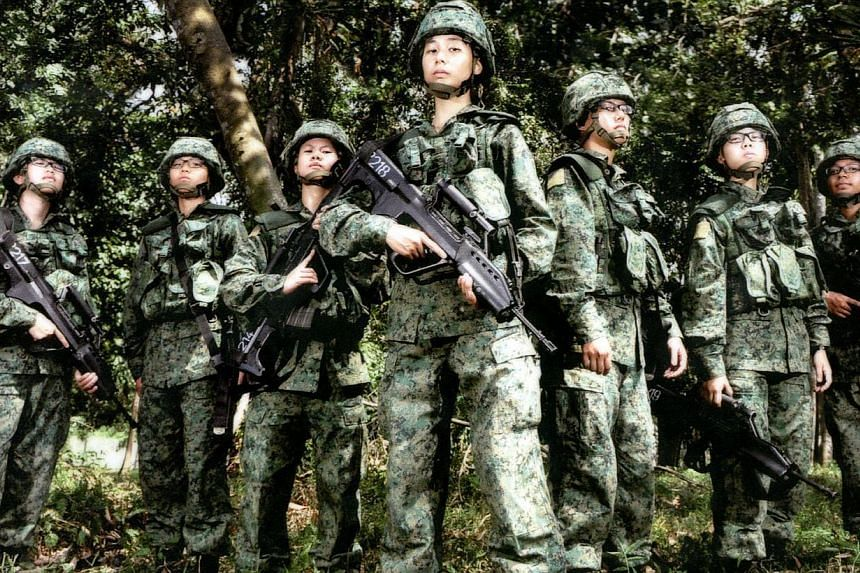 Women recruit from the Singapore Armed Forces (SAF). -- PHOTO: PIONEERNS