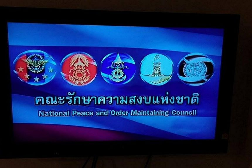 With all broadcast media suspended, this image appears on televisions in Thailand after the military seized power in a coup. -- PHOTO: EDDIE CHAN