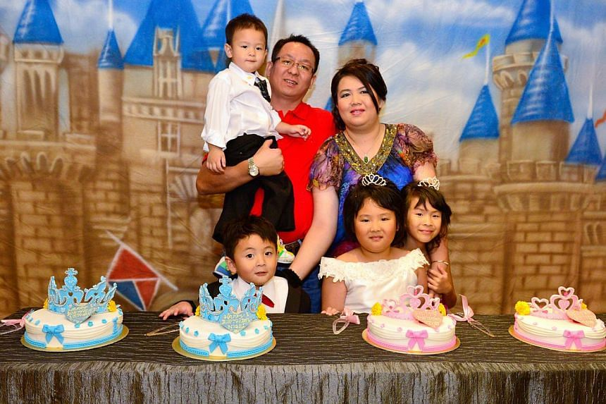 Deon Liew (centre) and her siblings had a royal good time at their joint birthday party which cost $12,000. --PHOTO: MAK HUEY FEN AND FIZAZZLE