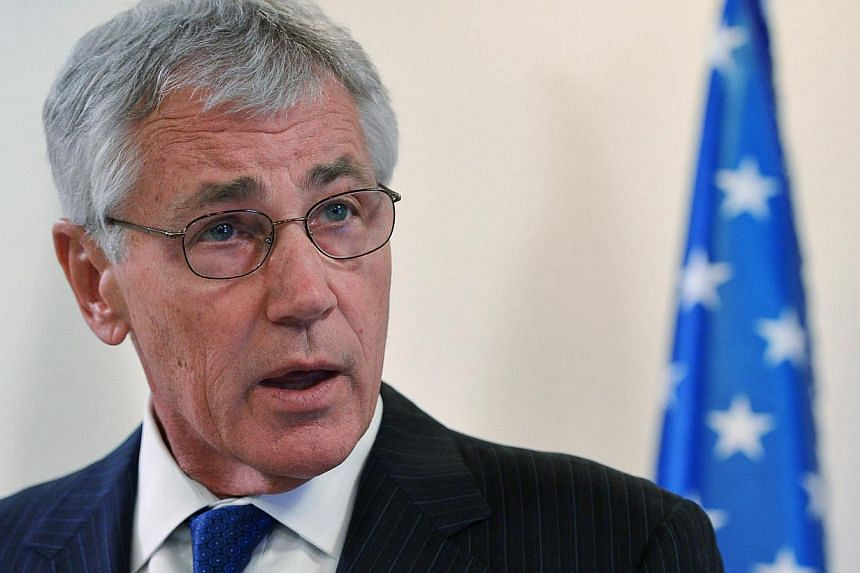 US Defense Secretary Chuck Hagel speaks ahead of a meeting with Israeli Prime Minister Benjamin Netanyahu (not pictured) at the Prime Minister's Office in Jerusalem on May 16, 2014. -- PHOTO: REUTERS