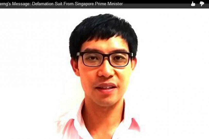 """Blogger Roy Ngerng said on Saturday that he """"has no answer"""" after Prime Minister Lee Hsien Loong refused his request to drop damages and legal costs. -- SCREENGRAB: ROY NGERNG / YOUTUBE"""