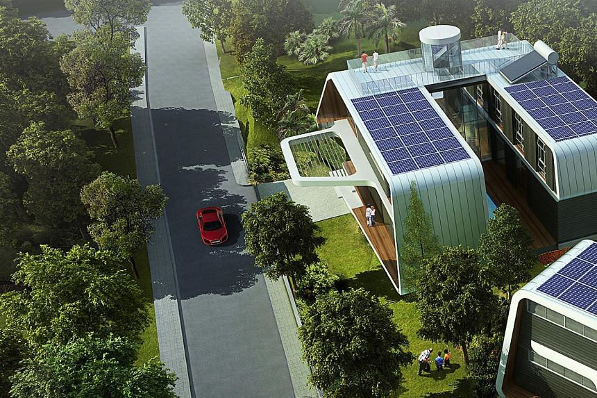 Designed by Pomeroy Studio, this upcoming house (right) in Novena will feature solar panels on its roof (above) and produce enough energy to power a five-person household.