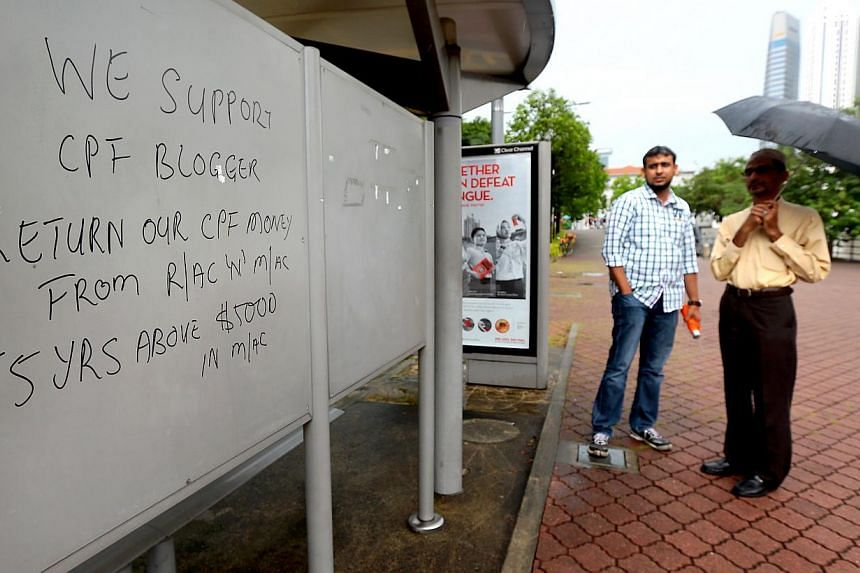 One of the bus stops in the Clarke Quay area that were vandalised. The police confirmed that a report was lodged early last Friday. It is understood that LTA contractors were dispatched by mid-afternoon to clean up the affected areas. -- PHOTO: TNP