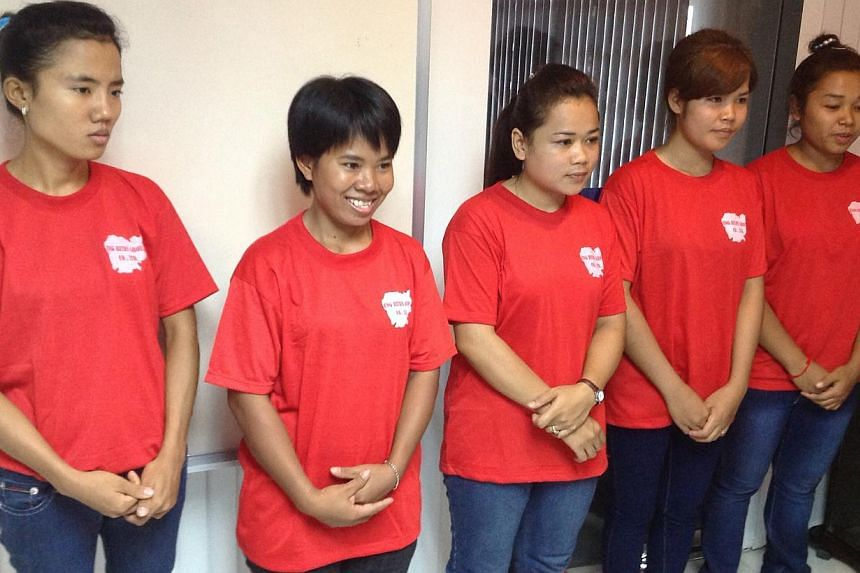 Cambodian maids at a training centre in Phnom Penh, Cambodia, in May 2013. -- PHOTO: NATION EMPLOYMENT AGENCY
