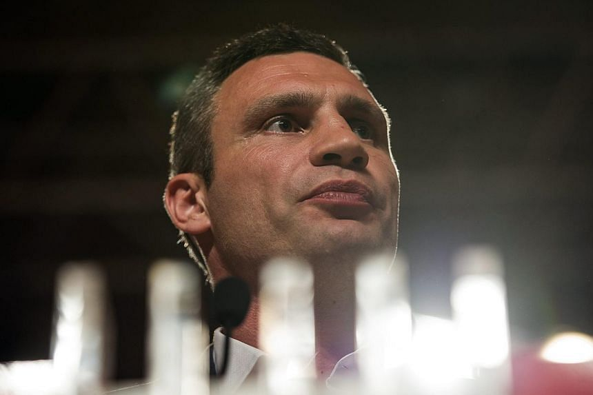 Leader of UDAR party and former heavyweight boxer Vitali Klitschko speaks during his press conference at Poroshenko's election headquarters in Kiev, Ukraine on 25 May 2014. -- PHOTO: EPA