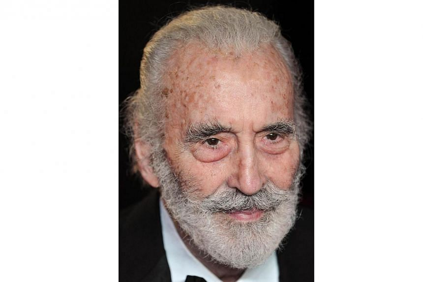 British actor Christopher Lee arriving on the red carpet to attend the royal world premiere of the new James Bond film Skyfall at the Royal Albert Hall in London on Oct 23, 2012. Lee, who turned 92 on May 27, 2014, is celebrating the milestone by rel