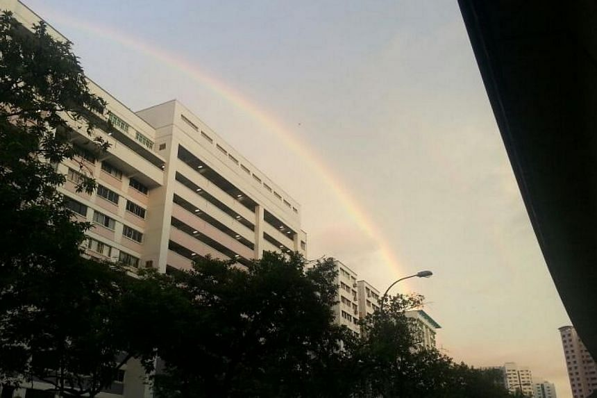 Social media cheered the ephemeral appearance of a double rainbow that spanned the skies of Singapore after a light shower on Wednesday morning. -- PHOTO: DEFFREY LIM
