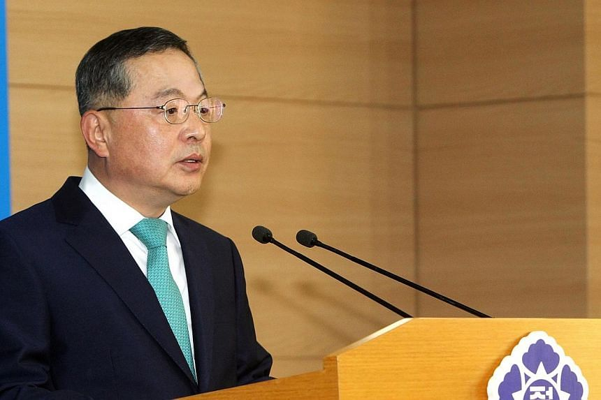 The new nominated South Korean Prime Minister Ahn Dae Hee, a former Supreme Court justice, speaking during a news conference at the Central Government Building in Seoul, South Korea on May 22, 2014. Mr Ahn resigned on Wednesday, May 28, 2014, le