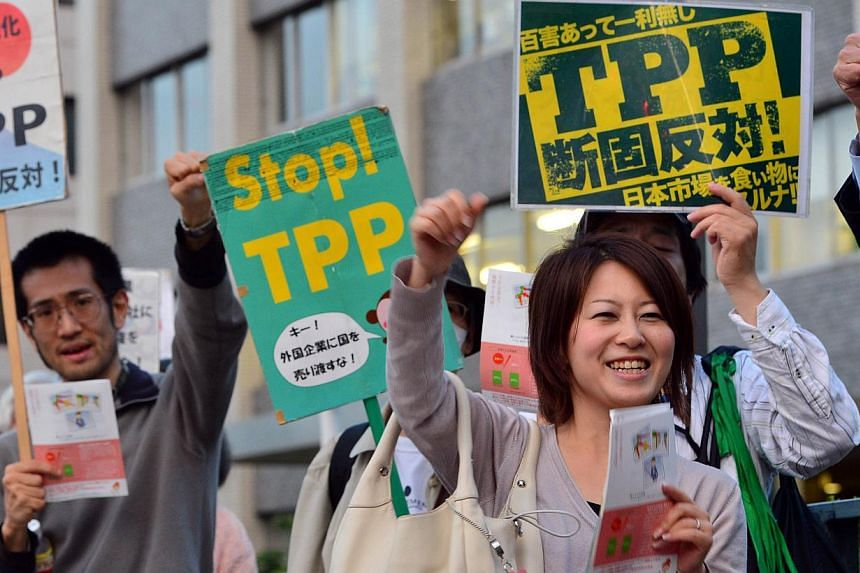 Protesters raise their fists and chant slogans during a rally against the Trans Pacific Partnership (TPP) trade deal in front of the prime minister's official residence in Tokyo on May 13, 2014. -- PHOTO: AFP