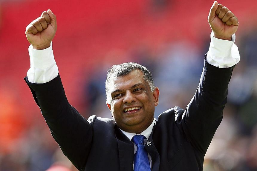 Queens Park Rangers' owner Tony Fernandes celebrates after their Championship play-off final soccer match against Derby County at Wembley Stadium in London on May 24, 2014. -- PHOTO: REUTERS