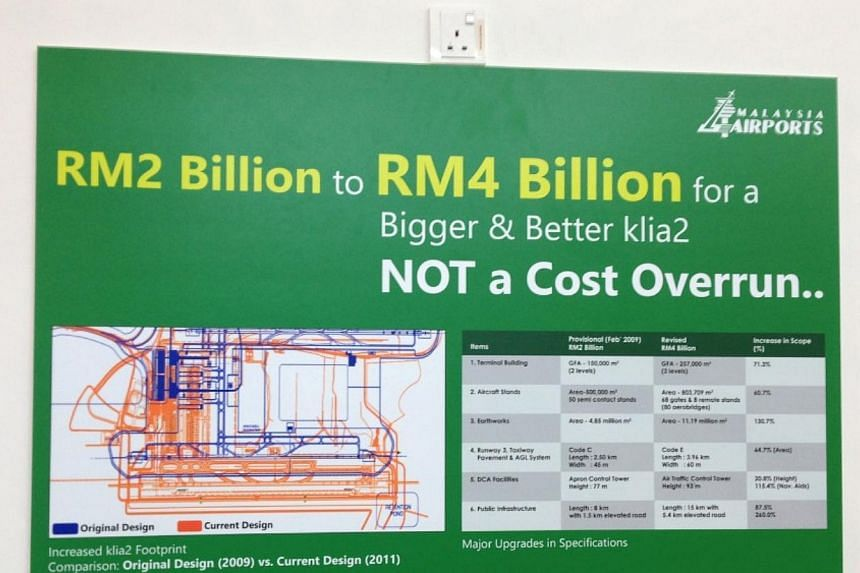 Malaysia Airports – the owner and operator of KLIA2 – put up signages at the airport to refute claims that KLIA2 was overpriced. - PHOTO: CAROYLN HONG
