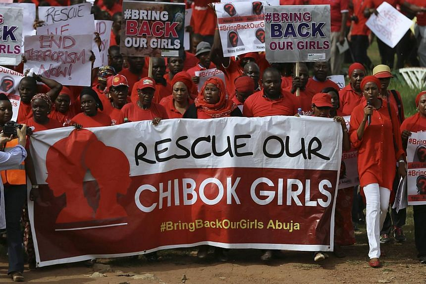 Nigerians protest over the abducted Chibok School girls in Lagos, Nigeria on May 27, 2014. -- PHOTO: EPA