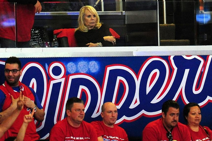 Shelly Sterling, wife of Los Angeles Clippers owner Donald Sterling, attends game 7 between the Clippers and the California Golden State Warriors in their NBA in this May 3, 2014, file photo in Los Angeles. -- PHOTO: AFP
