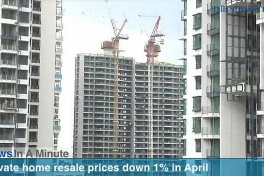 In today's The Straits Times News In A Minute video, we look at how private home resale prices fell 1 per cent last month, among other issues. -- PHOTO: SCREENGRAB FROM VIDEO