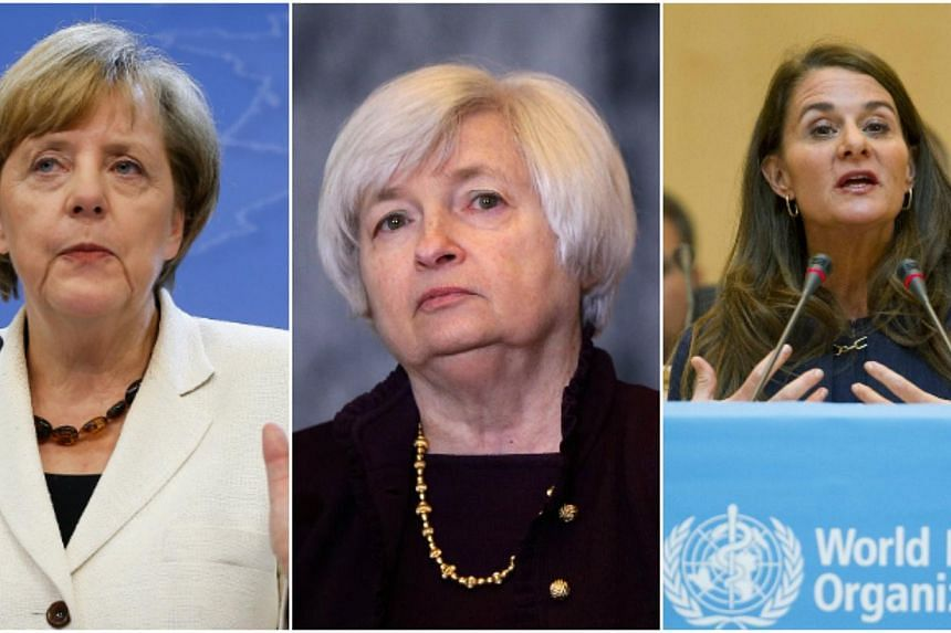 The top three on Forbes magazine's most powerful women in the world list; (from left) German Chancellor Angela Merkel, US Federal Reserve Chair Janet Yellen and philanthropist Melinda Gates. -- PHOTOS: EPA, AFP, REUTERS