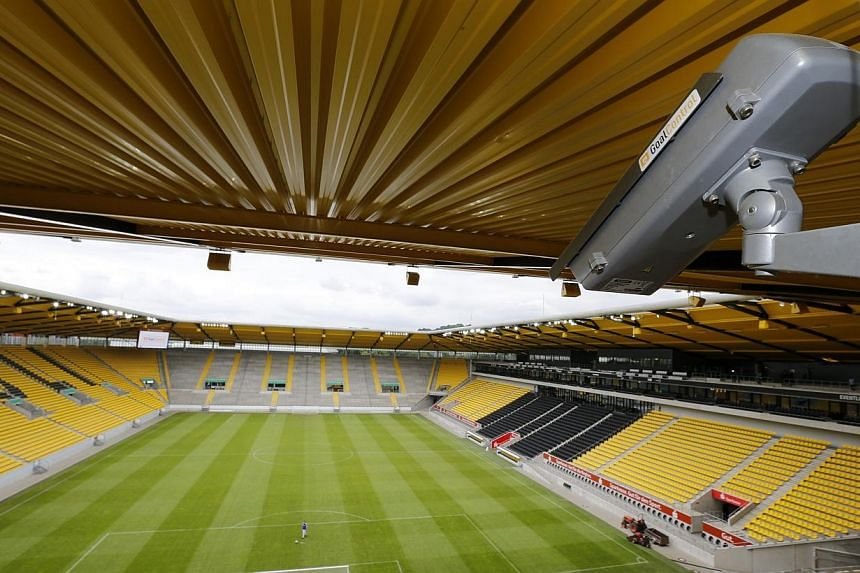 General view of a GoalControl goal line technology (GLT) high-speed camera at the Tivoli stadium during a demonstration of the GLT in the western German city of Aachen on May 28, 2014. -- PHOTO: REUTERS