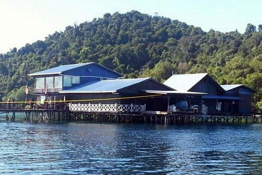 View of a fish farm in Sabah, Malaysia where a Chinese citizen working for a fishing company was kidnapped on May 6, 2014. Two women, one a Chinese and another a Filipina, abducted from a resort off Semporna in Malaysia's Sabah state last m