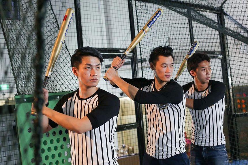 Co-owners of automated batting facility Homerun Baseball (from left) Michael Chiu, Oswin Shen and Kai Wen Sheng. -- ST PHOTO: ONG WEE JIN