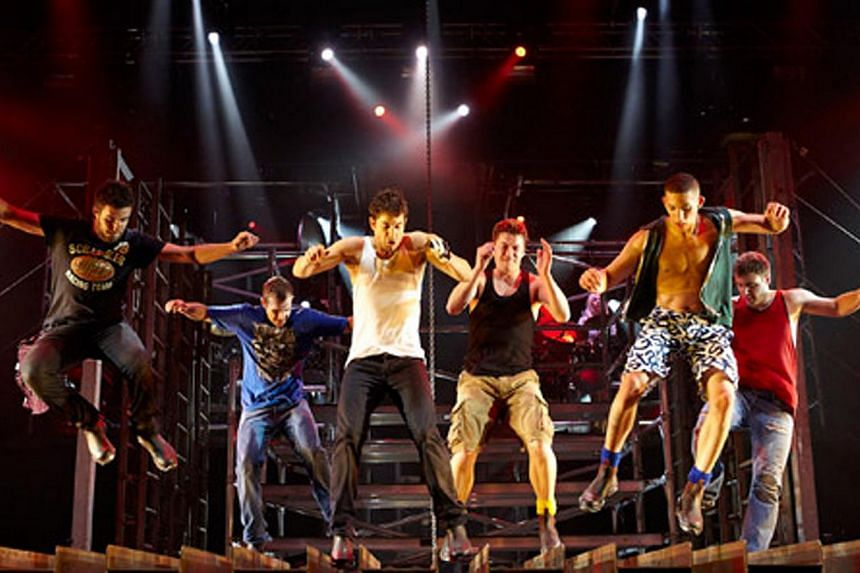 A dance performance by Tap Dogs which is created by Dein Perry and inspired by the Australian's teenage years when he learnt how to tap dance in the garage behind his dance teacher's house in Newcastle, a steel town north of Sydney. -- PHOTO:&nbs