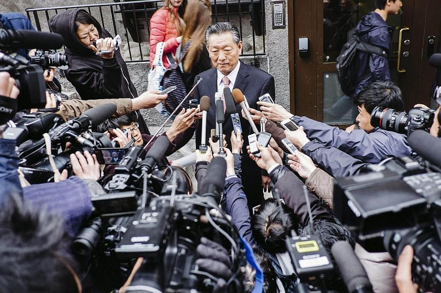 North Korea's chief negociator Song Il Ho addresses the press outside Hotel Kom in Stockholm, on May 28, 2014, after three days of talks between North Korean and Japanese representatives about Japanese citizens kidnapped by North Korea in the 1970s a