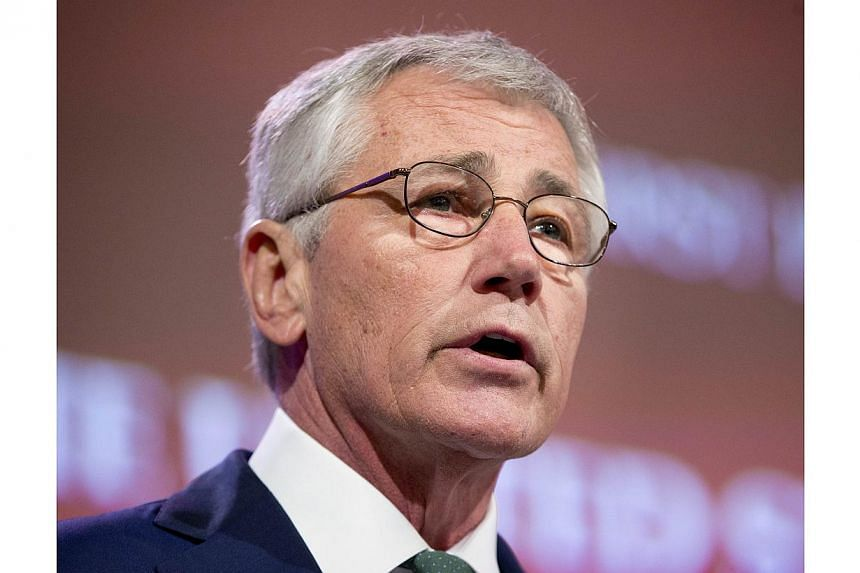 US Defense Secretary Chuck Hagel speaks at the opening plenary meeting at the 13th Asia Security Summit in Singapore, on May 31, 2014.