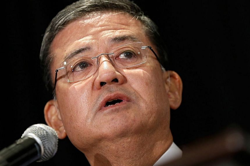 US Secretary of Veterans Affairs Eric Shinseki addresses the National Coalition for Homeless Veterans in Washington, DC. onMay 30, 2014. -- PHOTO: AFP