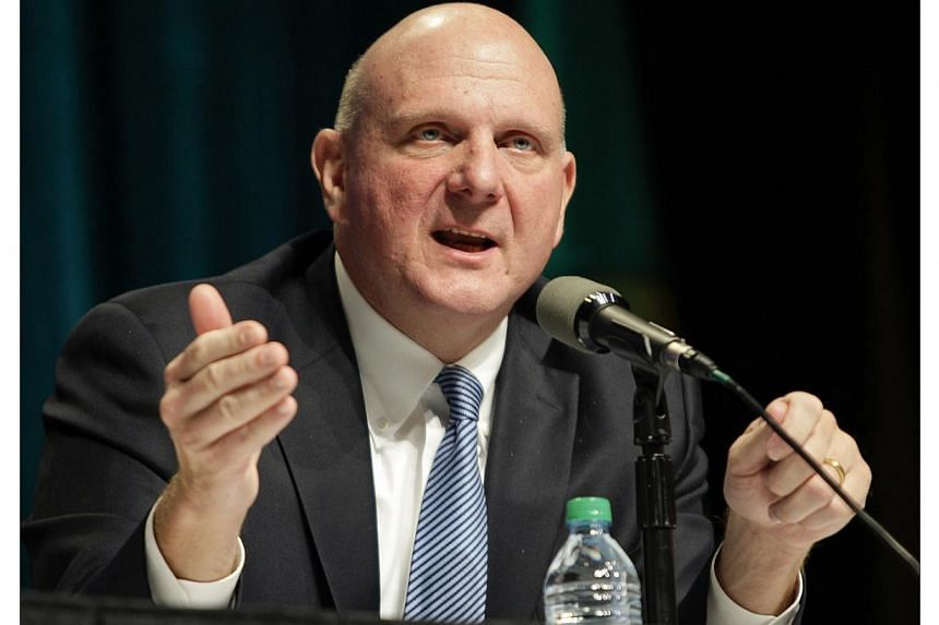Microsoft Chief Executive Steve Ballmer answers questions at the company's annual shareholder meeting in Bellevue, Washington on Nov 19, 2013. -- PHOTO: REUTERS