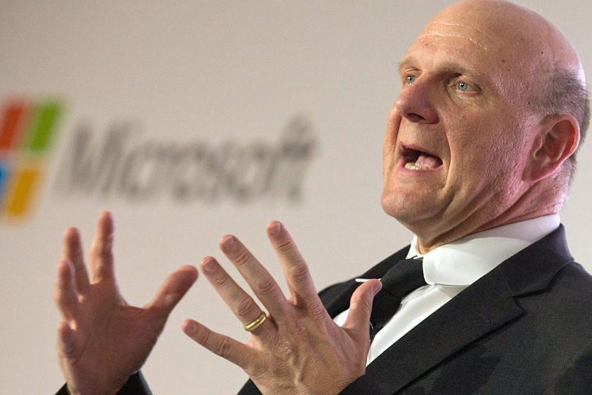 A file photograph dated 08 November 2012 shows Steve Ballmer, back then CEO of Microsoft, talking during the unveiling of the project 'Schlaumaeuse' (Clever Mice) in Berlin, Germany. -- PHOTO: EPA
