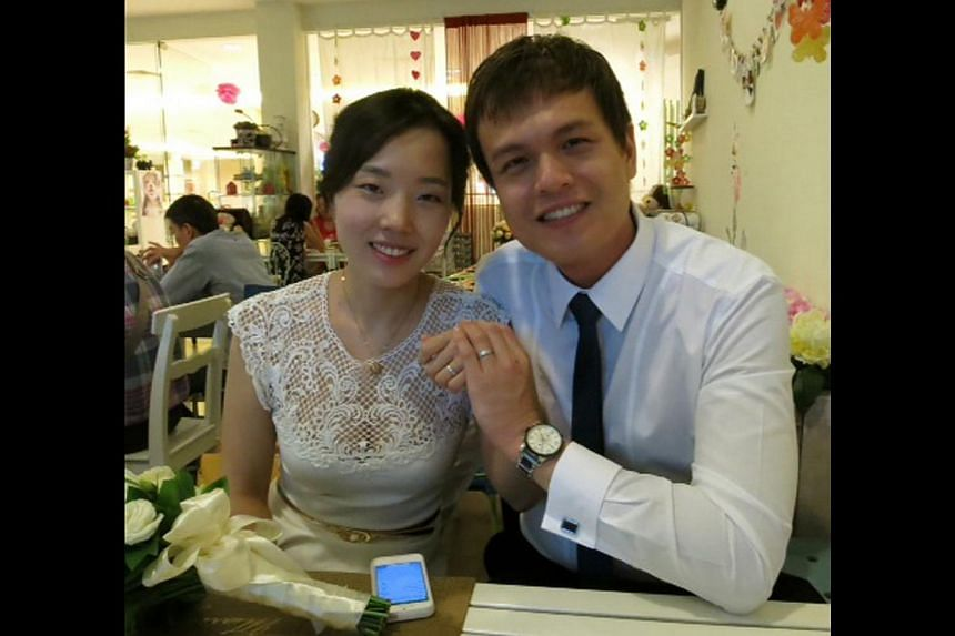 Korean Jeong Yu-Seon married Singaporean Vincent Kuang in Singapore three months ago. -- PHOTO: COURTESY OF JEONG YU-SEON