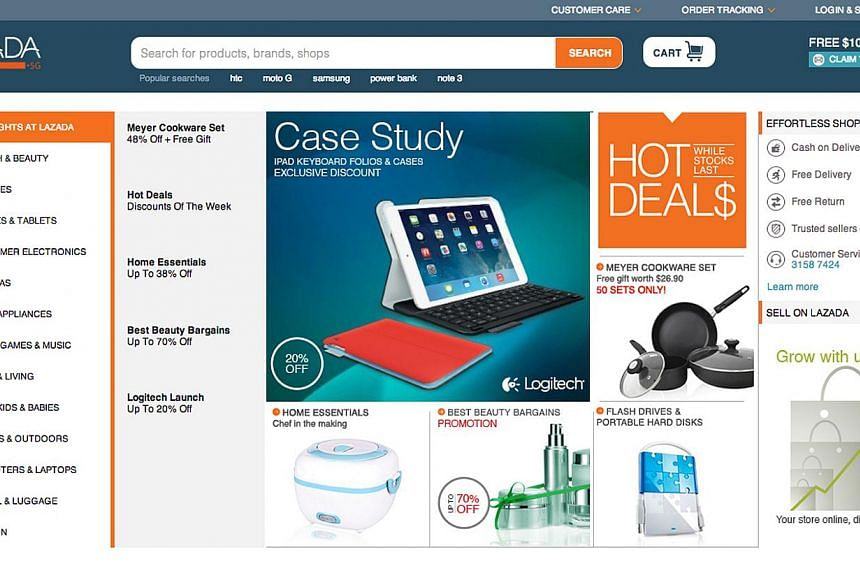 Lazada, bankrolled by German firm Rocket Internet, launched the Singapore version of its online store here last Tuesday to sell things ranging from clothes to frying pans and vacuum cleaners. -- PHOTO: SCREENSHOT OF LAZADA WEBSITE