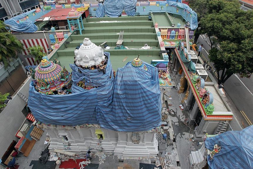 The view of the temple undergoing renovation and restoration from the new six-storey building at the back of the Serangoon Road compound. -- ST PHOTO: NEO XIAOBIN