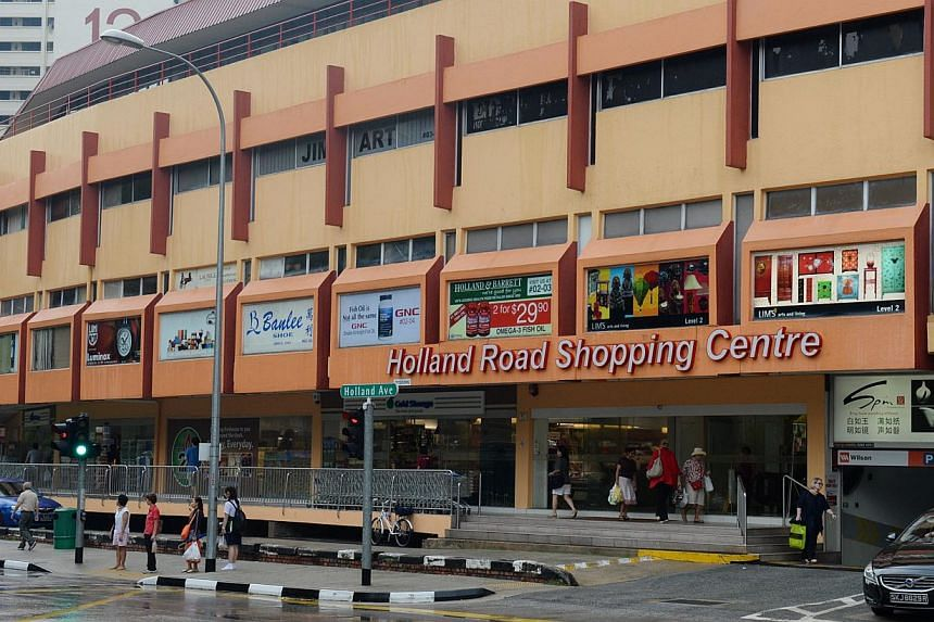 The Holland Road Shopping Centre located in Holland Village. Seven retail units on the ground level of Holland Road Shopping Centre have been put up for sale, said its broker CBRE on Monday. -- PHOTO: ST FILE
