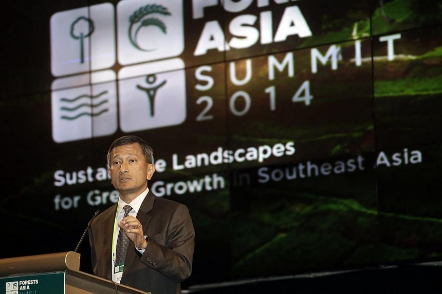 Singapore's Minister for Environment and Water Resources Vivian Balakrishnan delivers his speech during the Forests Asia Summit 2014 at Shangri-La Hotel in Jakarta, Indonesia, on May 5, 2014. As Asia's urban growth outpaces that elsewhere, so wi