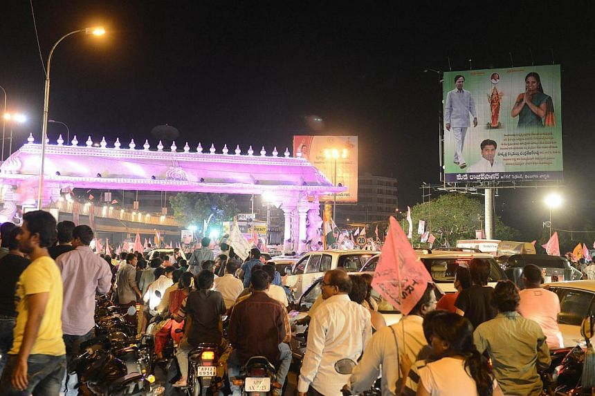 Indian supporters of Telangana gather to celebrate India's 29th state, Telangana, in Hyderabad early on June 2, 2014. -- PHOTO: AFP