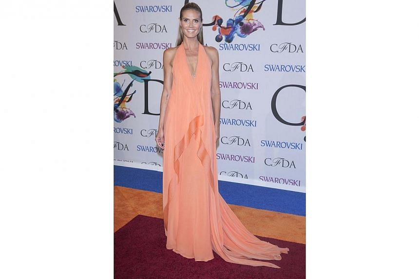 Model Heidi Klum arrives for the 2014 CFDA fashion awardsat Lincoln Center in New York on June 2, 2014. -- PHOTO: REUTERS