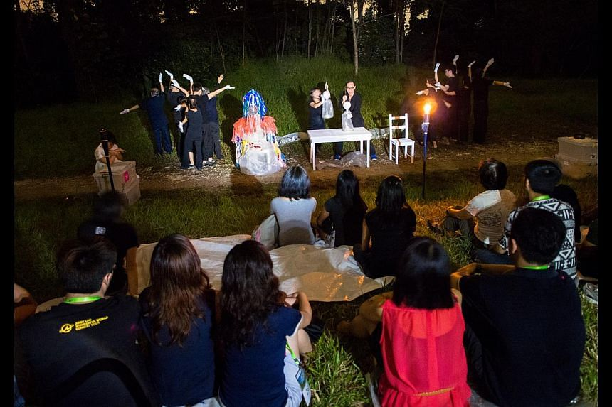 Drama Box's forum theatre shows, such as Project Mending Sky: US (above) held at Bukit Timah Railway Station, have explored social issues including terrorism. -- PHOTO: DRAMA BOX, BEN TAY