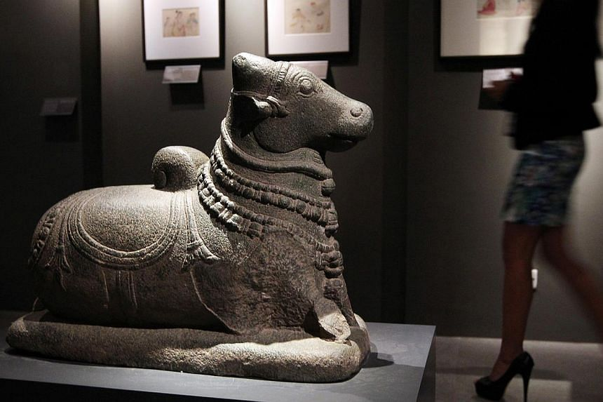 A stone sculpture of Nandi, the bull mount of the Hindu god Shiva, bought for US$55,250, remains on display at the Asian Civilisations Museum's South Asia gallery. It is among the 30 items acquired by the museum from Art of the Past gallery in New Yo