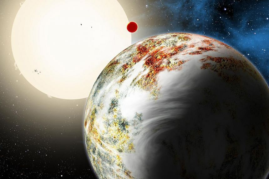 The newly discovered Kepler-10c dominates the foreground in this artist's conception. Its sibling, Kepler-10b, is in the background. Both orbit a sunlike star. -- PHOTO:David A. Aguilar, Harvard Smithsonian Center for Astrophysics