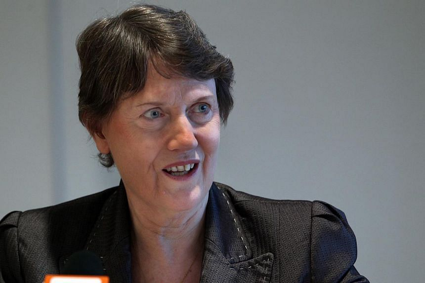 United Nations Development Programme (UNDP) Administrator Helen Clark speaking at a lecture in Singapore on March 13, 2012. Ms Clark has called on the private sector to play a greater role in ensuring women have equal opportunities to take on leaders