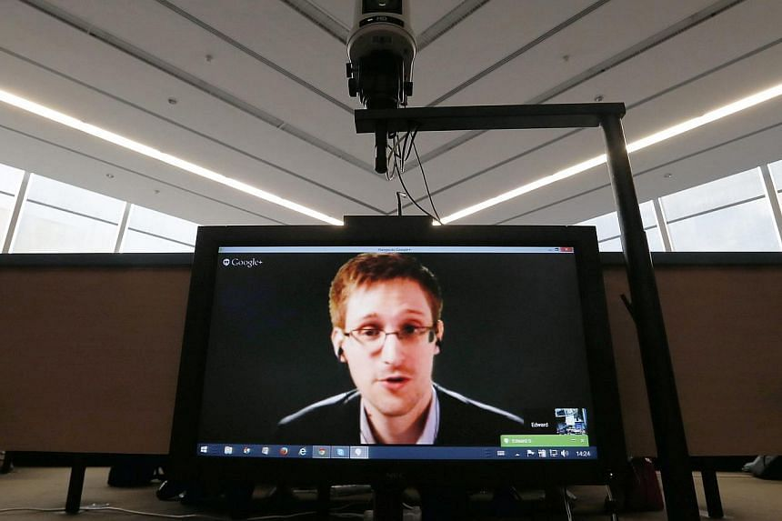 Accused government whistleblower Edward Snowden speaks via video conference with members of the Committee on Legal Affairs and Human Rights of the Parliamentary Assembly of the Council of Europe in Strasbourg in this file photo taken on April 8, 2014