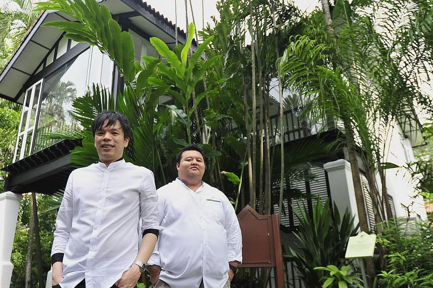 Co-owners (from left) Renny Heng and chef Jason Tan, who will helm the new Corner House restaurant at the Singapore Botanic Gardens. -- PHOTO: DIOS VINCOY JR FOR THE STRAITS TIMES