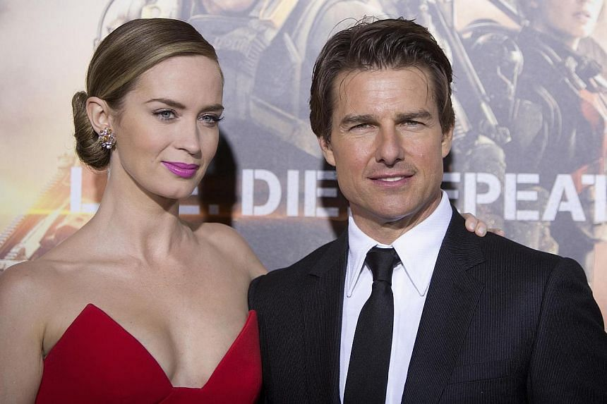 Emily Blunt and Tom Cruise at the premiere of Edge Of Tomorrow in New York last week. -- PHOTO: REUTERS
